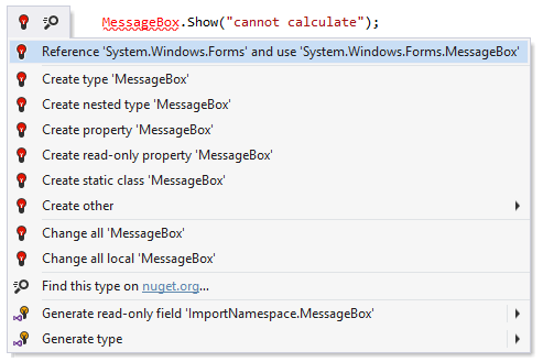ReSharper helps add missing using statement and assembly reference
