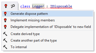 A quick-fix that helps generate dispose pattern