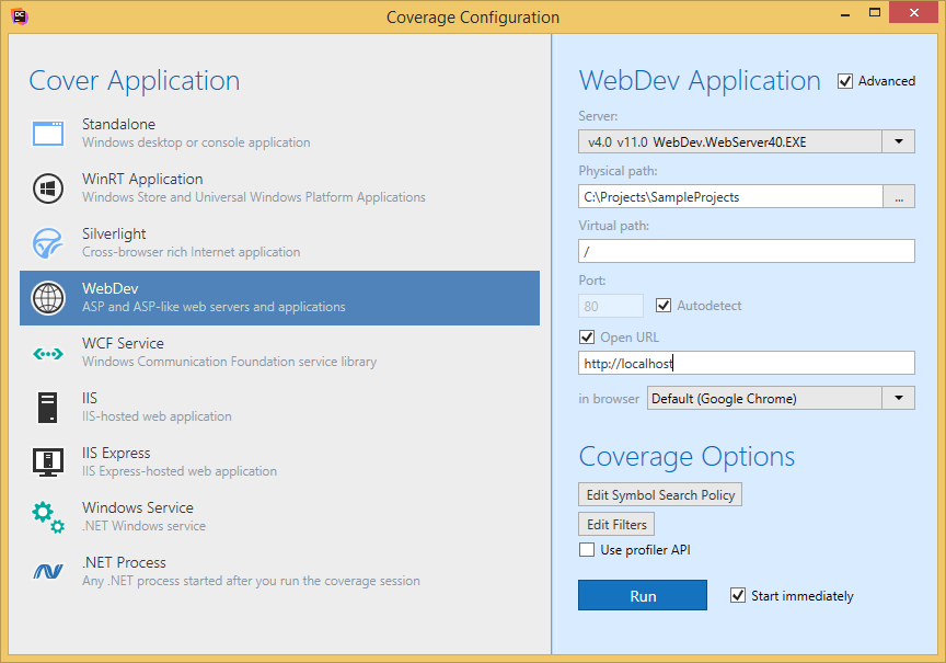 dotCover Dialog Boxes Coverage Configuration