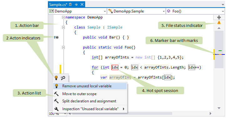ReSharper controls in Visual Studio editor