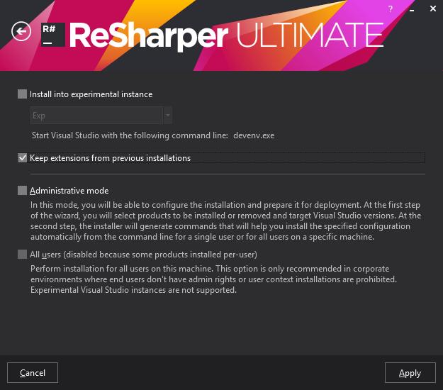 dotCover installer. Custom settings