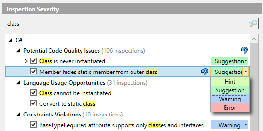 Changing inspection severity in the ReSharper Options dialog