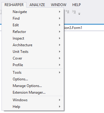ReSharper menu in Visual Studio