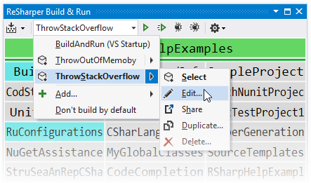 Run configurations in the ReSharper Build & Run window