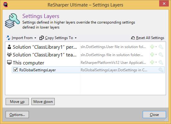 dotCover. 'Setting Layers' dialog