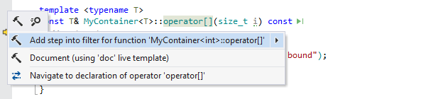 ReSharper: Adding a step filter for a function from the editor.