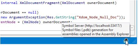 dotPeek symbol server icon in the status bar