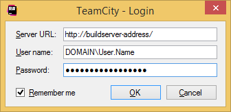 TeamCity Add-in: login