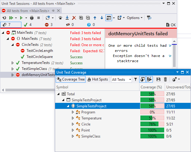 Analyzing unit test coverage with dotCover
