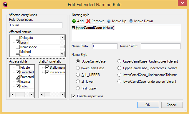 Coding Assistance Naming Style options Edit Extended Naming Rule