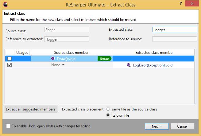 ReSharper. Extract class refactoring