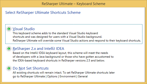 Choosing ReSharper keyboard shortcuts scheme