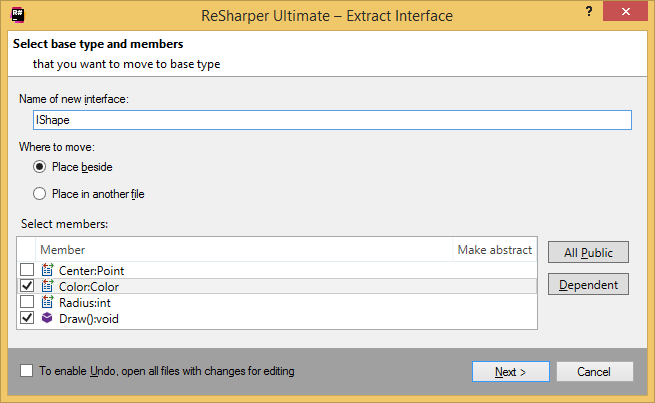 ReSharper. Extracting interface from a class