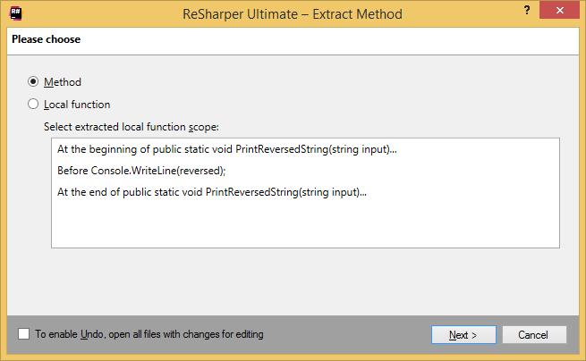 ReSharper. Extract Method refactoring: choosing between method and local function
