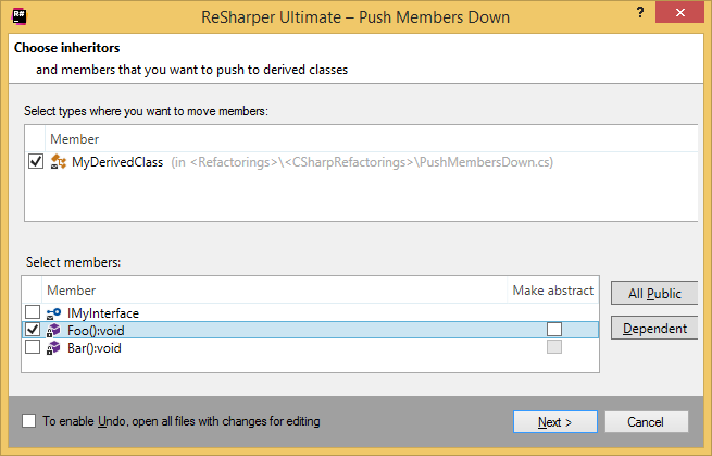 ReSharper. Push Members Down refactoring