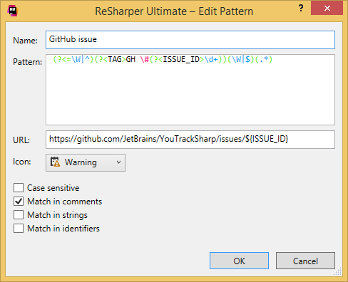 ReSharper. To-do pattern that recognizes GitHub issues