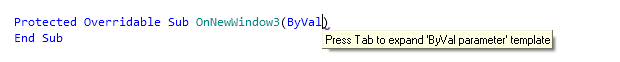 Reference Options Templates Live Templates Predefined VB NET Other byval before