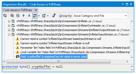 ReSharper: Inspection Results window
