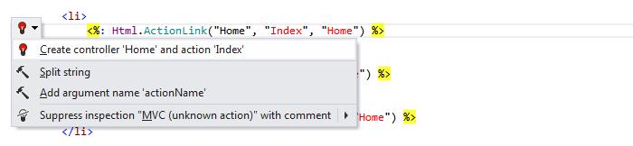 Web Development MVC Create from usage