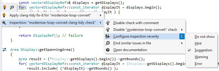 ReSharper: Clang-Tidy inspection menu