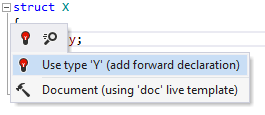 ReSharper: Add forward declaration quick-fix