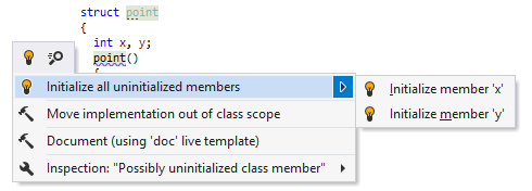 ReSharper C++: quick-fix to initialize members