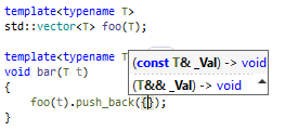 ReSharper C++: Parameter information with dependent code