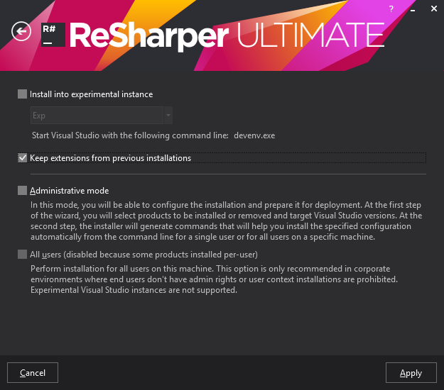 ReSharper installer. Custom settings