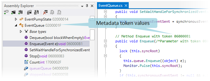 Metadata token values displayed by dotPeek