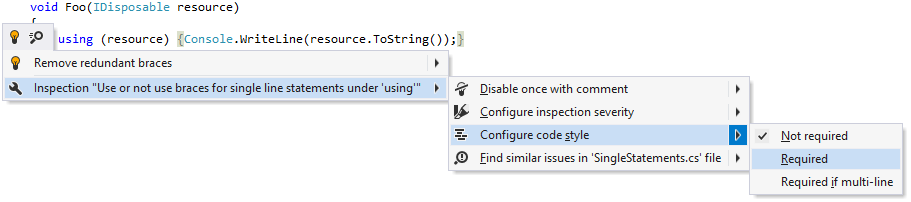 Changing code style preference for braces