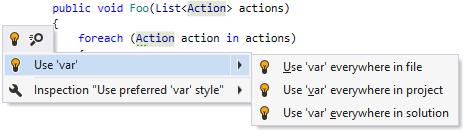 'Var' usage quick-fix