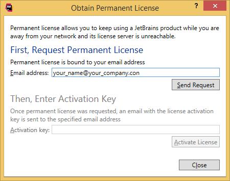 dotCover. 'Obtain Permanent License' dialog