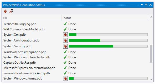 ReSharper pdb generation log