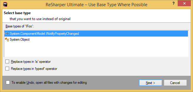 ReSharper: Use Base Type Where Possible refactoring