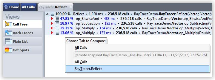 Studying Profiling Results Comparing Profiling Data choose tab