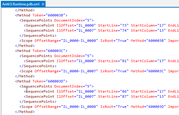 dotPeek: PDB contents displayed as an XML file