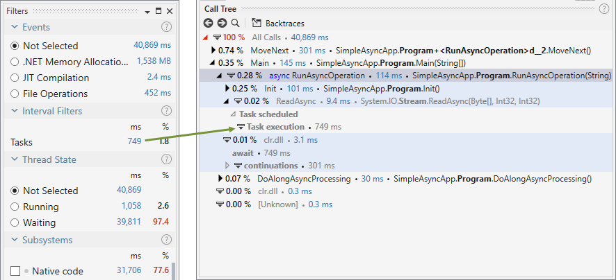 tasks filter async calls