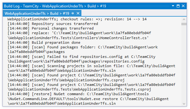 TeamCity Add-in: Build Log window