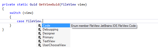 JetBrains Rider: Completion for enum members