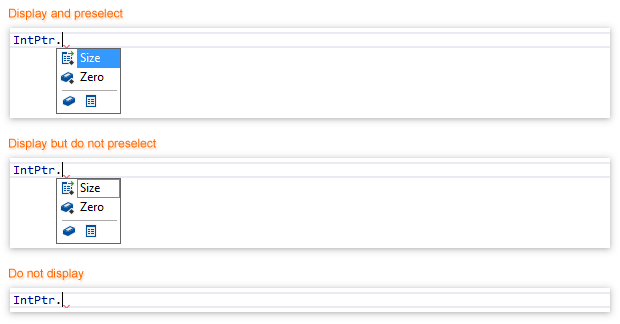 ReSharper: Hard/soft selection in the auto-completion popup
