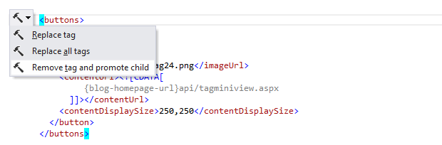 ReSharper: 'Remove tag and promote children' context action in XML
