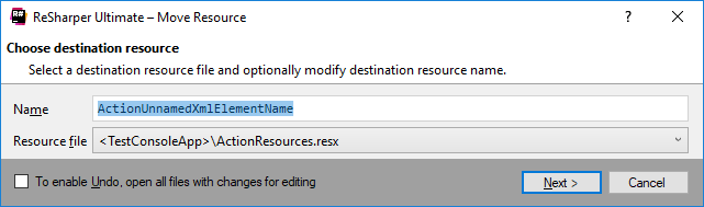 ReSharper: 'Move Resource' refactoring