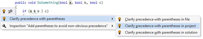Adding optional parentheses to clarify operation precedence
