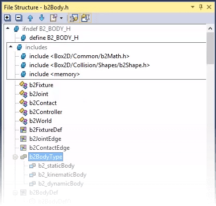 Viewing file structure of a C++ file