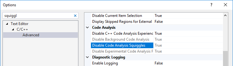Disabling Visual Studio squiggles to get rid of false positives in Unreal Engine projects