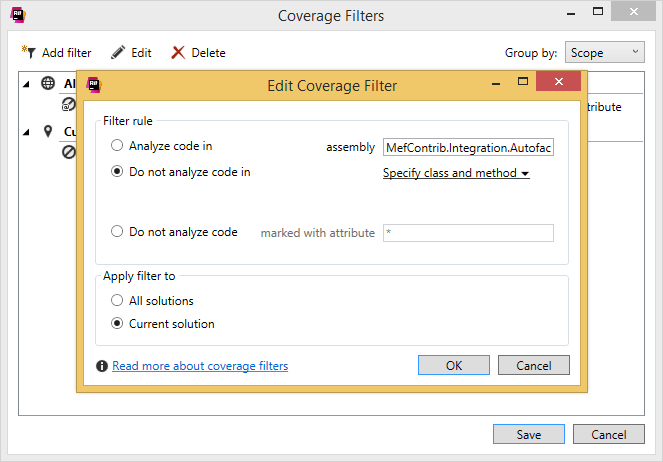 dotCover helps filtering coverage results