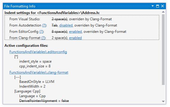 ReSharper. File Formatting Info window