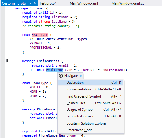 ReSharper features for Google Protocol Buffers (Protobuf) in .proto files