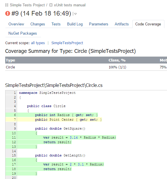 TeamCity. XUnit coverage shown on source code