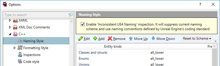 ReSharper: Applying UE4 naming conventions